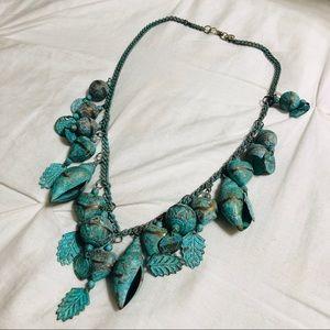 "Bohemian Turquoise Shell Necklace 22.5"" EUC Blue"